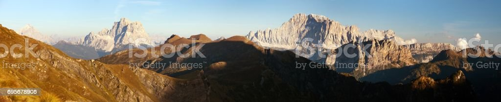 Evening panoramic view of mount Civetta and mount Pelmo stock photo