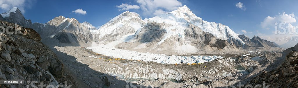 Evening panoramic view of Mount Everest base camp, Everest, Nuptse stock photo