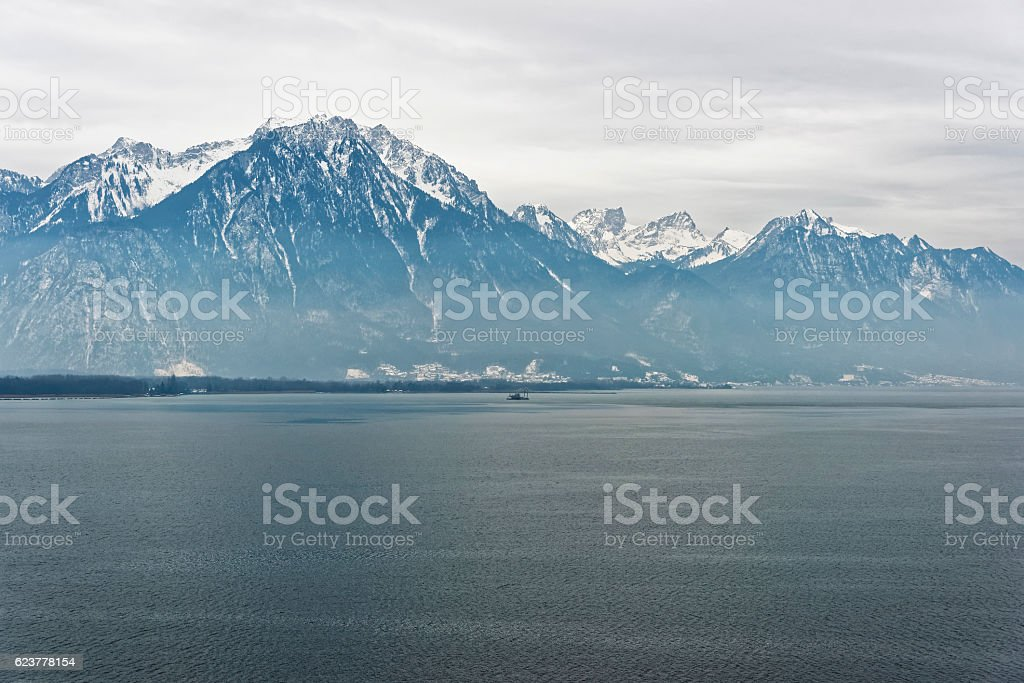 Evening Panoramic view to Lake Geneva from Montreux in Switzerland stock photo