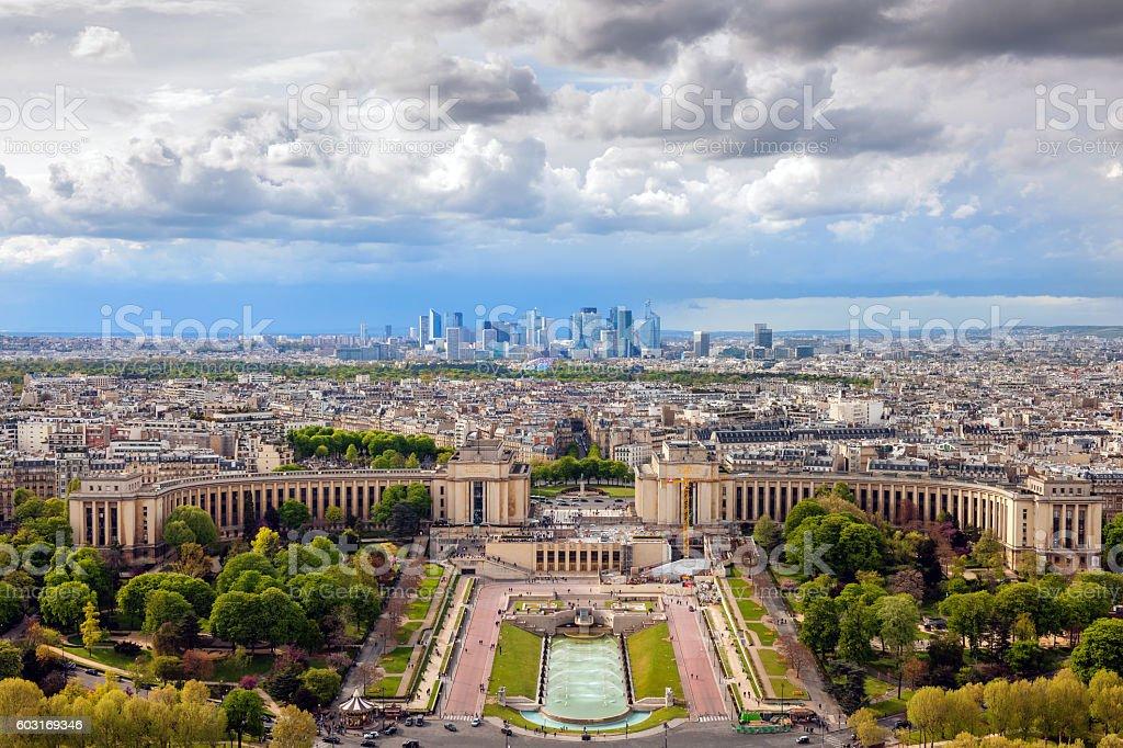 Evening Paris before Storm, La Defense, Paris, France stock photo