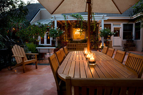Evening Patio Table stock photo