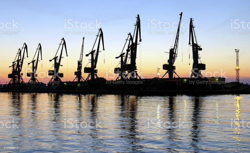 Evening port royalty-free stock photo