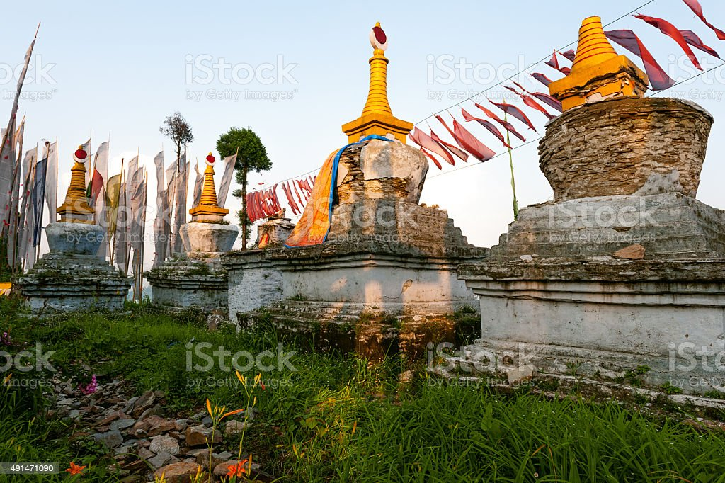 Evening Prayer Flags in Sangachoeling Monastery Sikkim Tibet, India stock photo