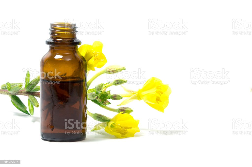 evening primrose oil, flowers and a bottle, isolated on white stock photo
