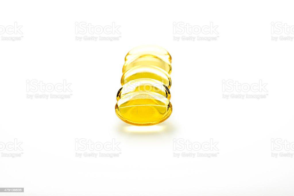 evening primrose oil pills isolated stock photo