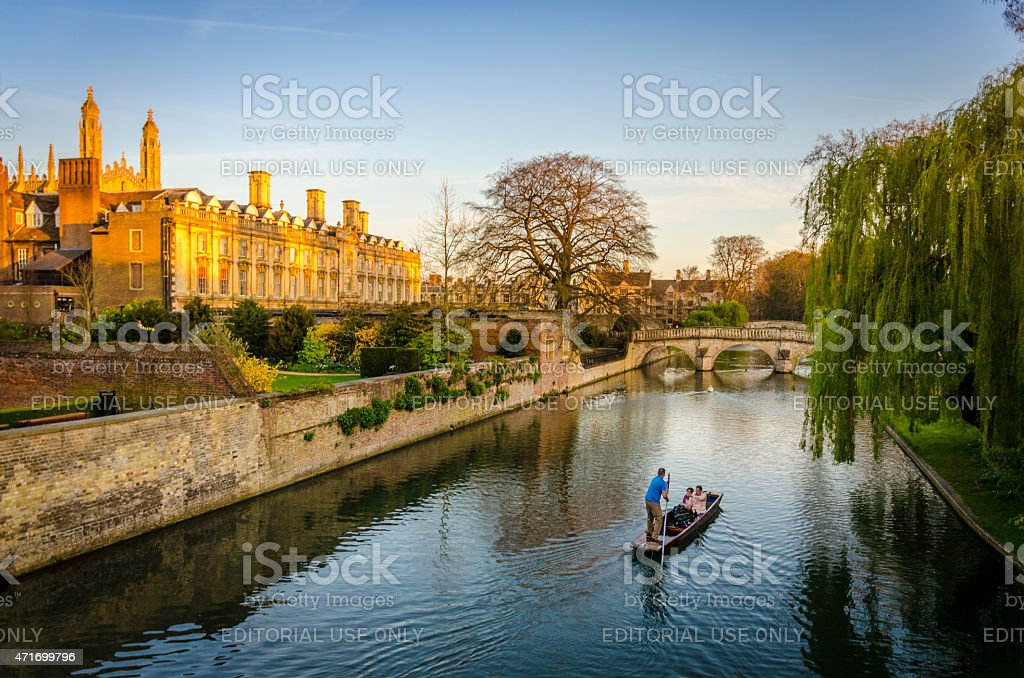 Evening punting on the River Cam in Cambridge stock photo