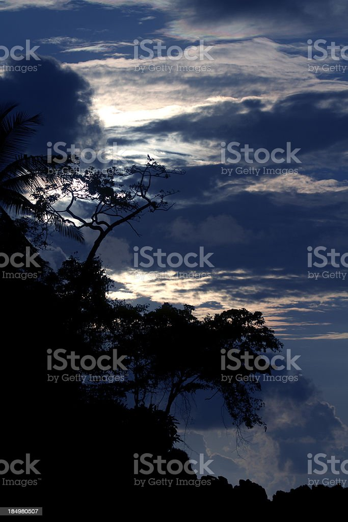 Evening Rain Clouds Coming in Tropical Rainforest stock photo