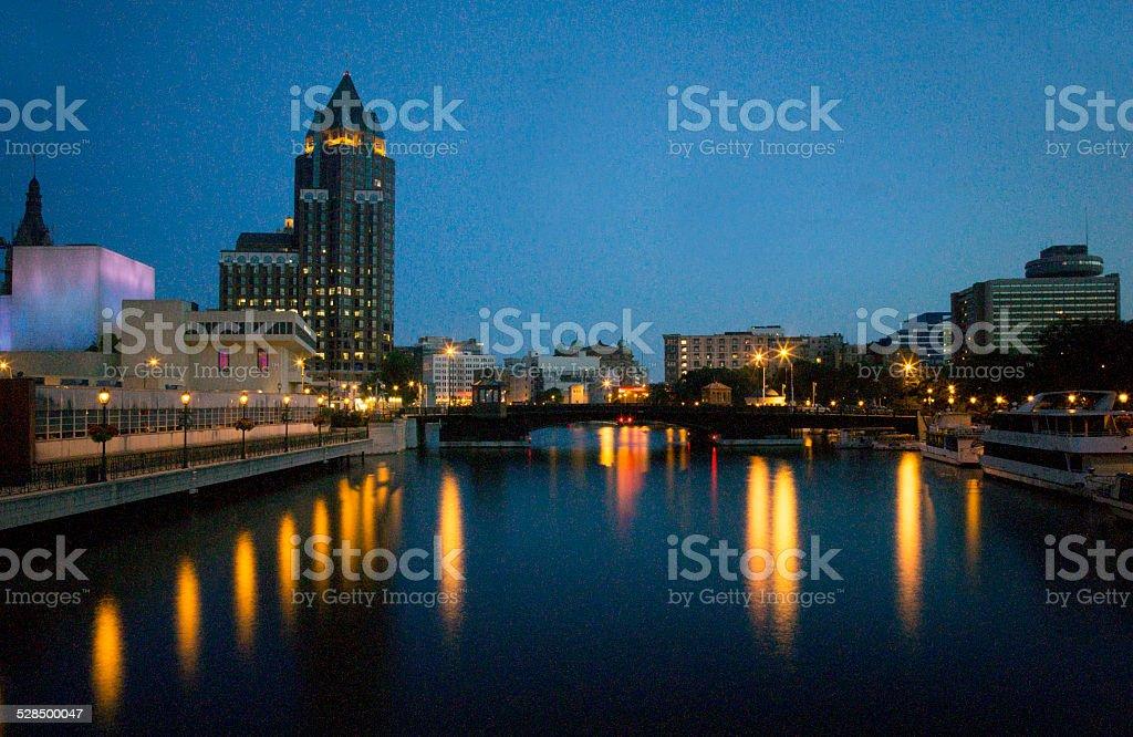 Evening reflection in Milwaukee stock photo