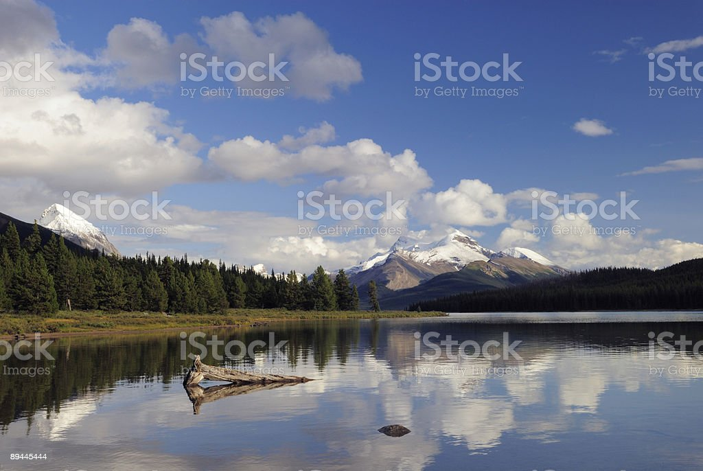 Evening reflections at Maligne Lake in Canadian Rockies royalty-free stock photo