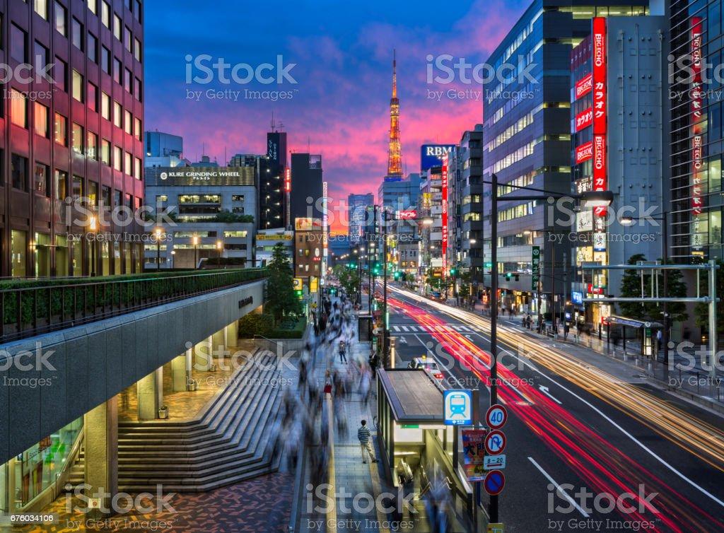 Evening Rush Hour near Tokyo Tower, Tokyo, Japan stock photo
