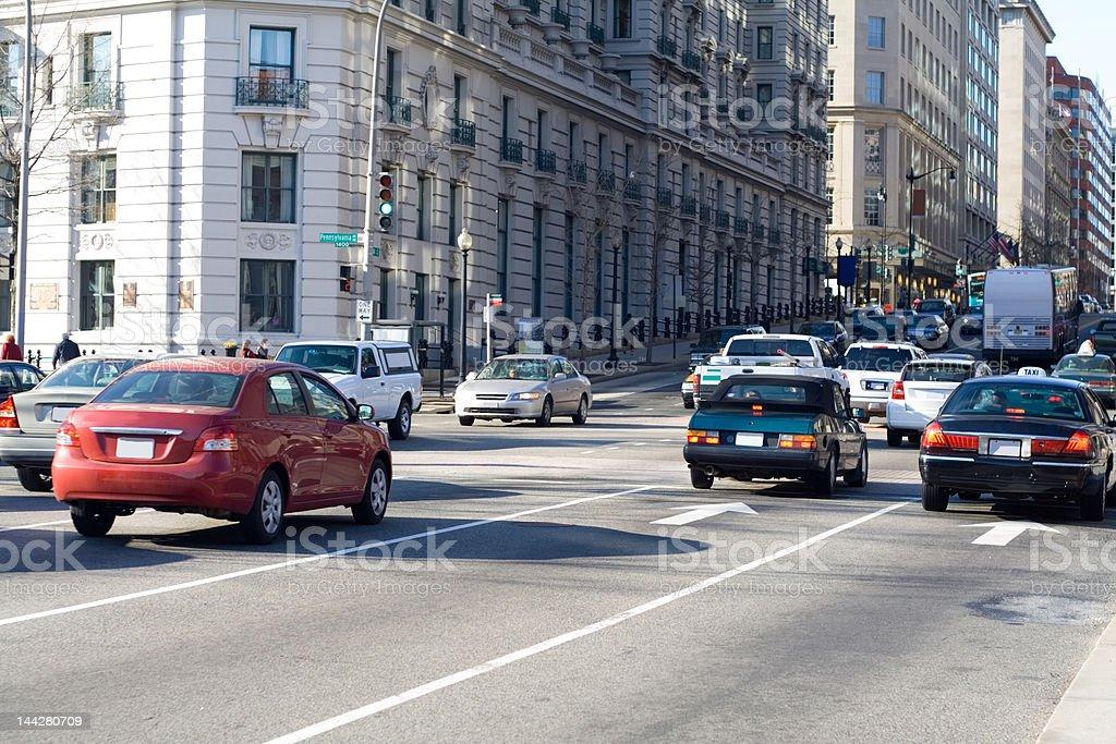 Evening Rush Hour Traffic in Washington DC USA stock photo