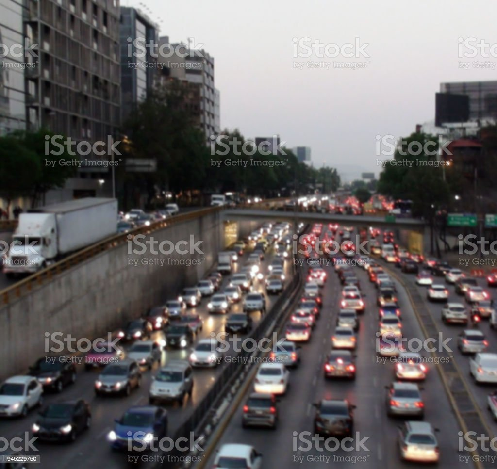 Evening Rush Hour Traffic Jam View In Mexico City Mexico