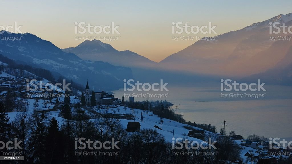 Evening scene at lake Walensee stock photo