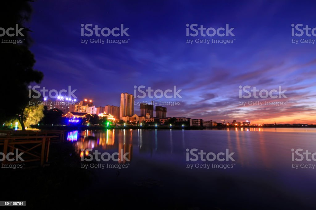 evening scenery along the river bank, closeup of photo royalty-free stock photo