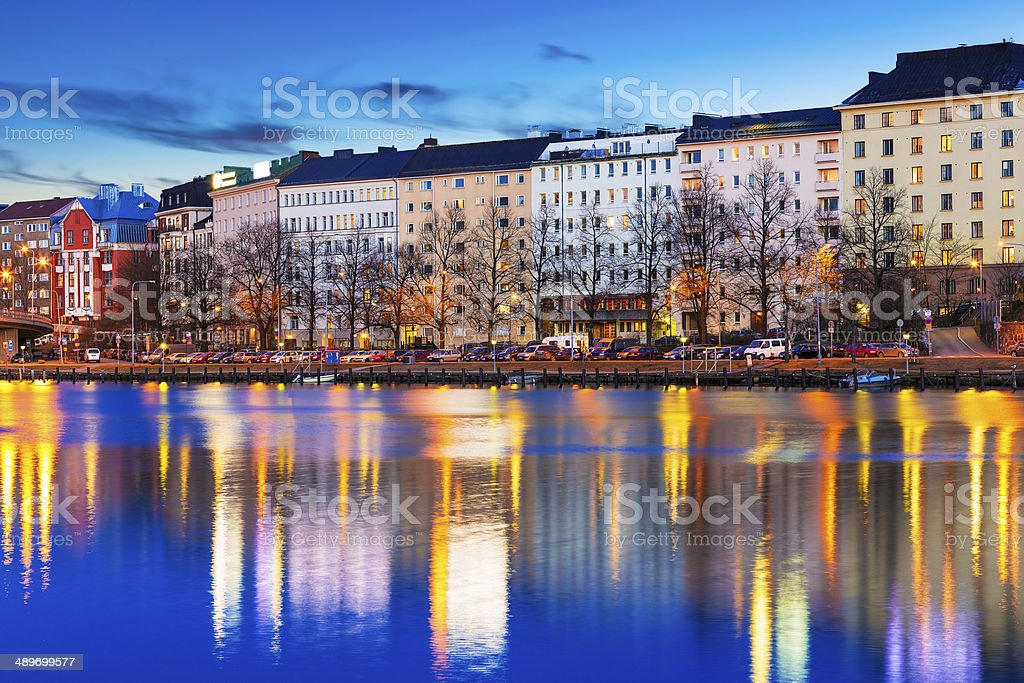 Evening scenery of Helsinki, Finland stock photo