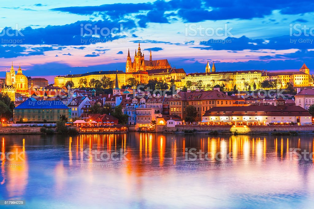 Evening scenery of Prague, Czech Republic stock photo
