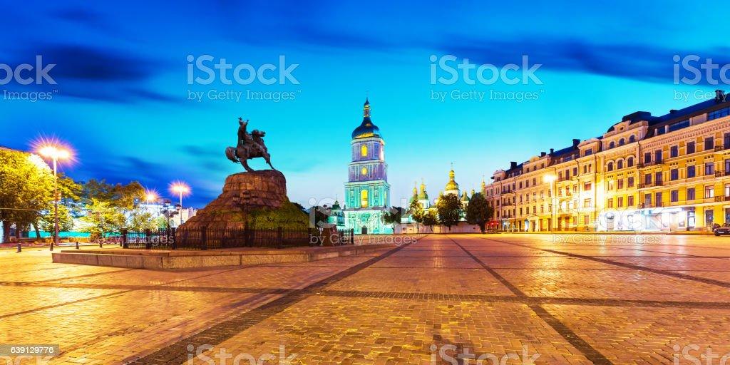 Evening scenery of Sofia Square in Kyiv, Ukraine stock photo