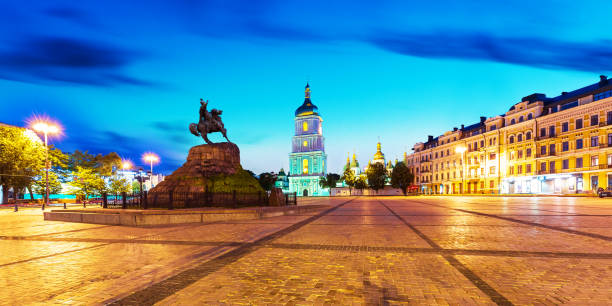 Evening scenery of Sofia Square in Kyiv, Ukraine stock photo