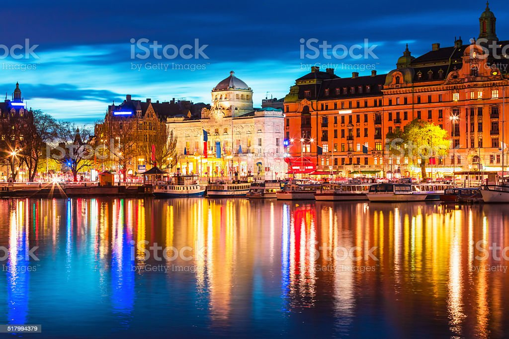 Evening scenery of Stockholm, Sweden stock photo