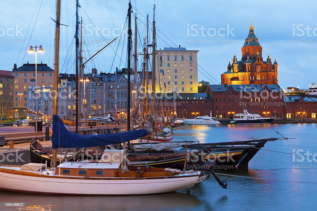 Evening scenery of the Old Port in Helsinki, Finland stock photo