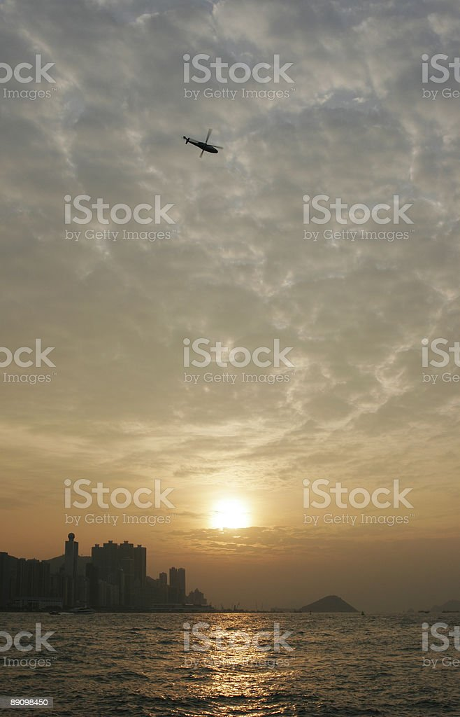 Evening scenic of Hong Kong harbor royalty-free stock photo