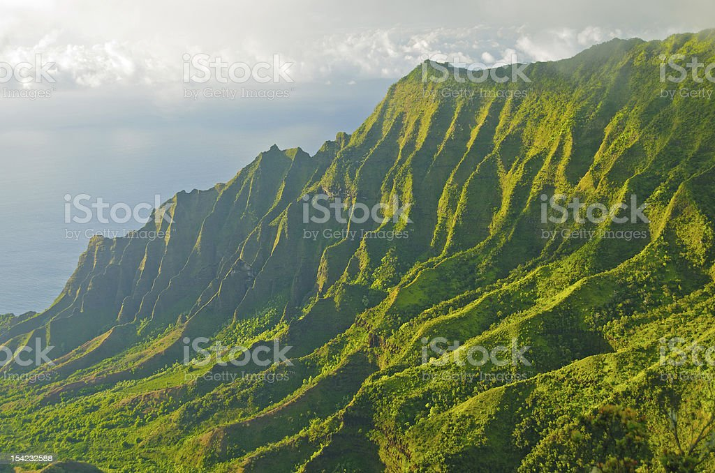 Evening shadows and mist in Hawaii stock photo