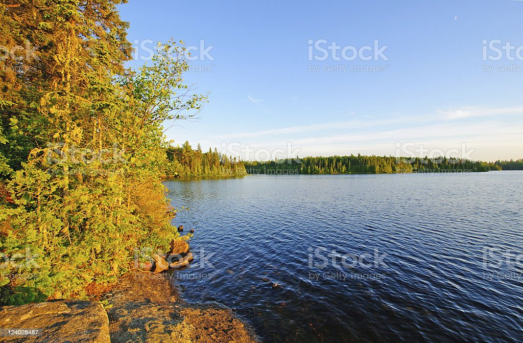 Evening shadows in Canoe Country stock photo