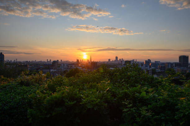 Evening shot from up at Point Hill in Greenwich stock photo