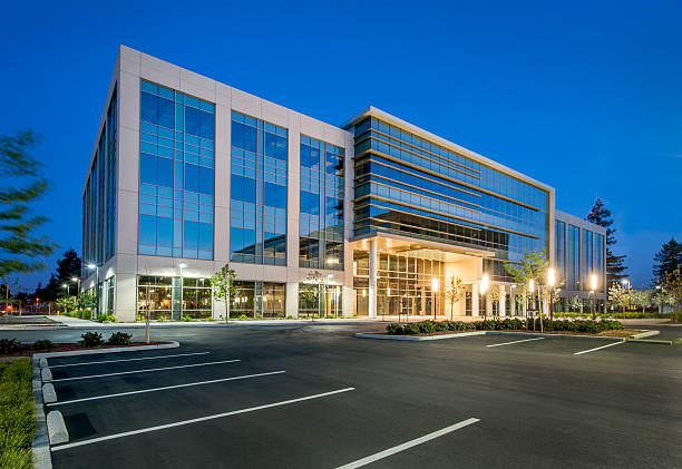 Evening Shot of a New Office Building, California stock photo