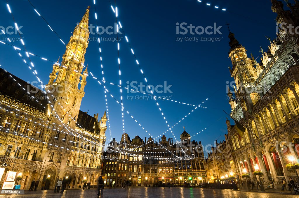 Evening shot of the Grand Place in Brussels stock photo