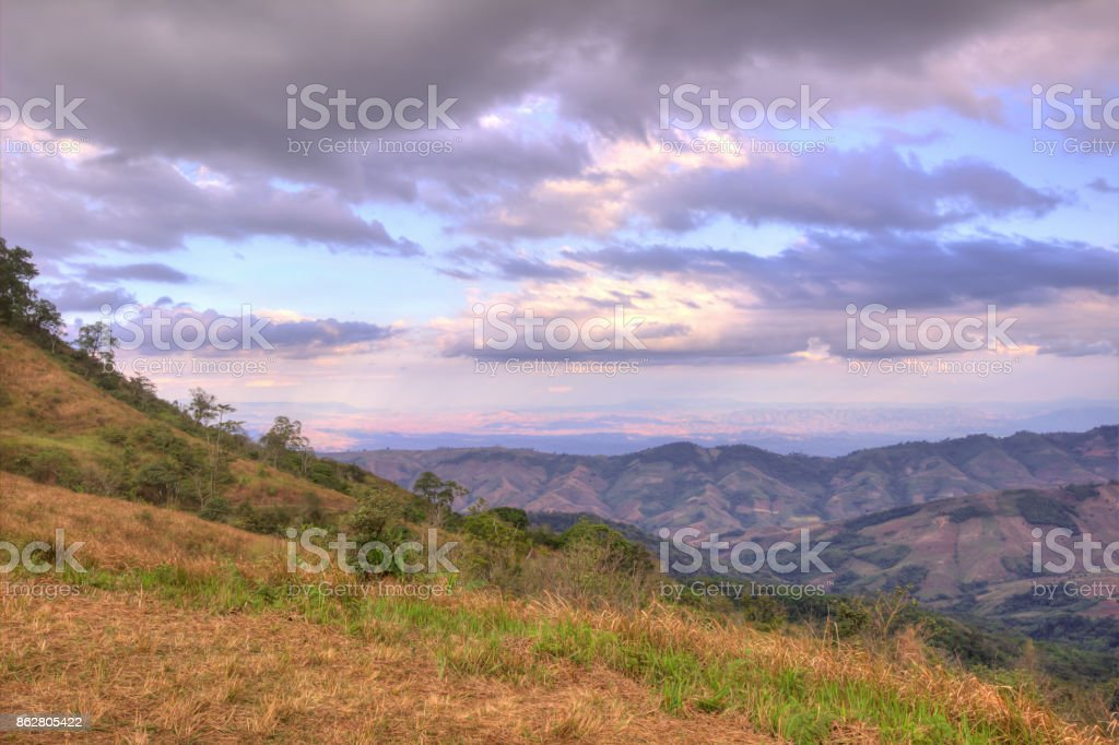 Evening sky and panoramic views from mountaintop of Phu Lom Lo,Phu Hin Rong Kla National Park,Kok Sathon,Dan Sai District,Loei,Thailand stock photo
