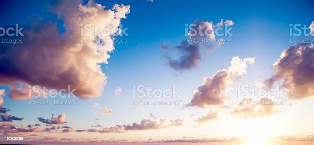 Evening sky and sunset clouds stock photo