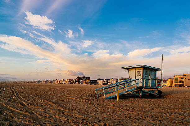 Evening sky at the 2nd St. Lifeguard Tower and The Strand stock photo