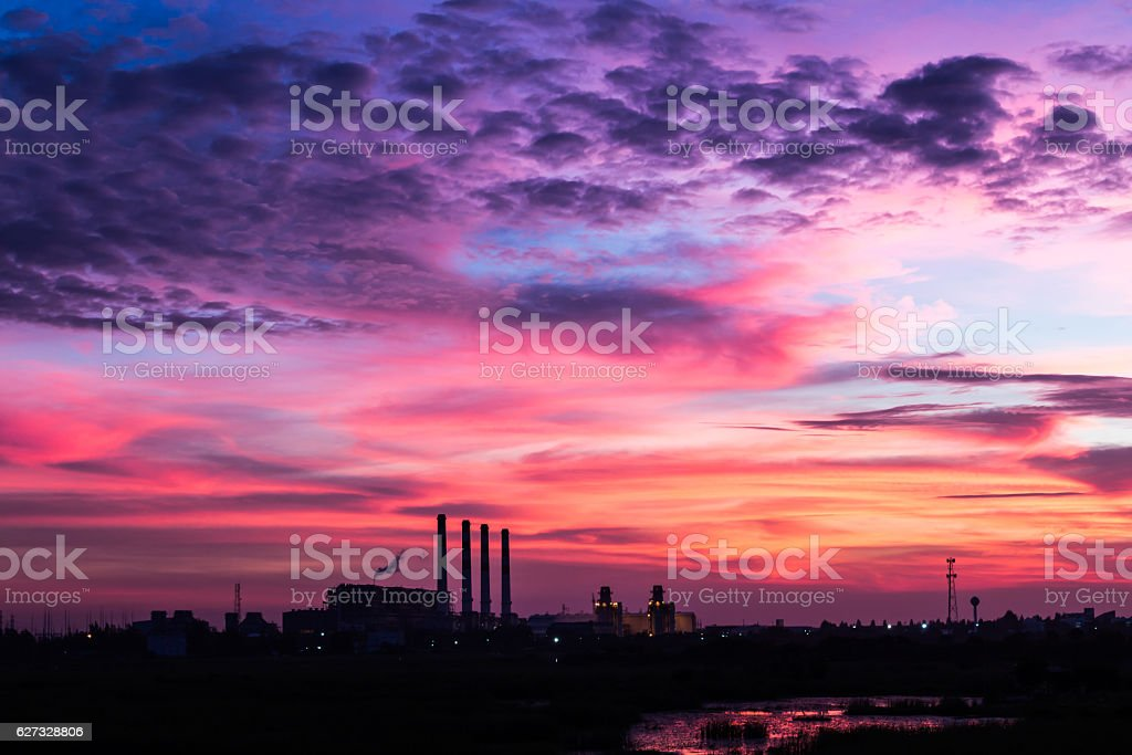 evening  sky  in industrial area stock photo