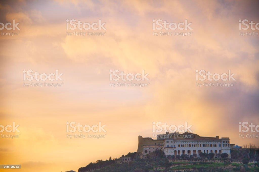 Evening Sky over Italian Castle stock photo