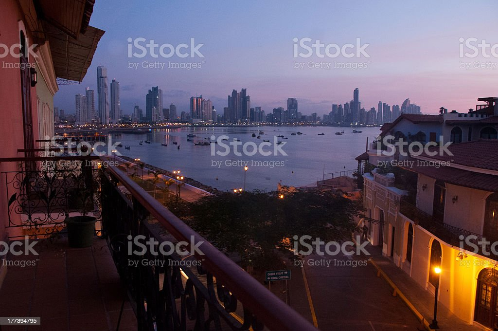 Evening sky over Panama City stock photo