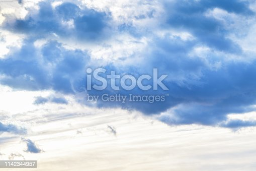istock Evening sky with dark clouds before the rain, sunset. Horizontal photography 1142344957