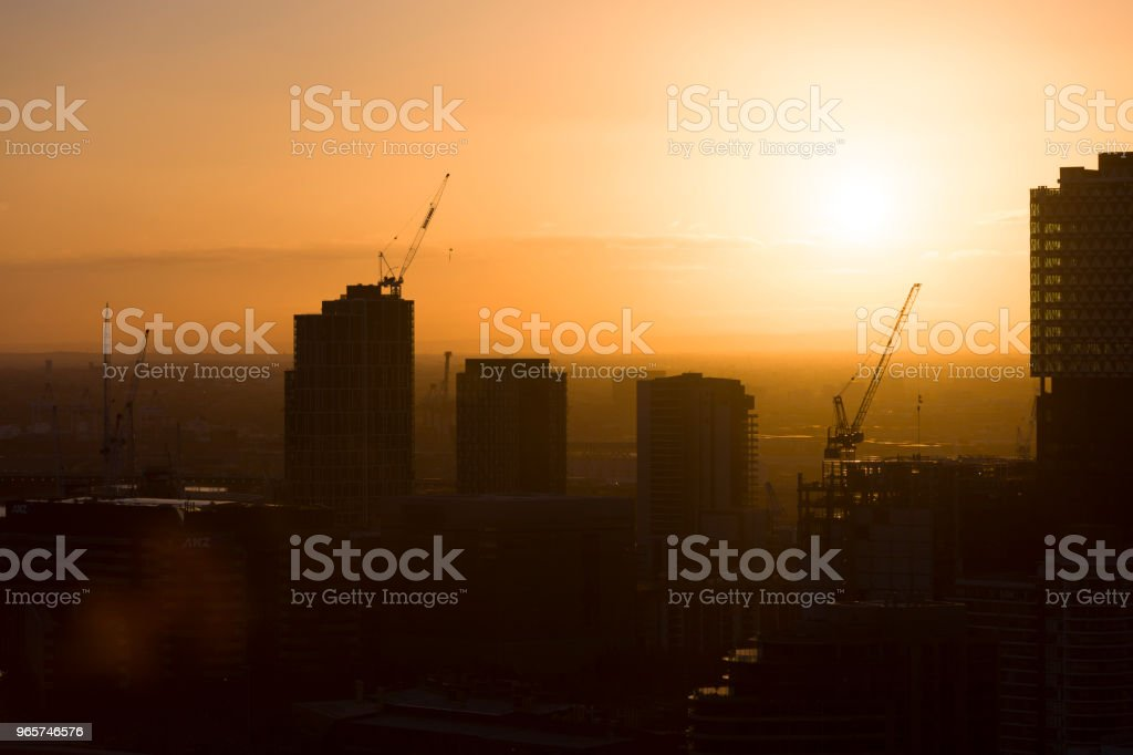Evening Skyline Construction Site - Royalty-free Above Stock Photo