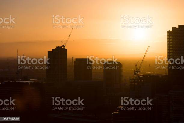 Evening Skyline Construction Site Stock Photo - Download Image Now