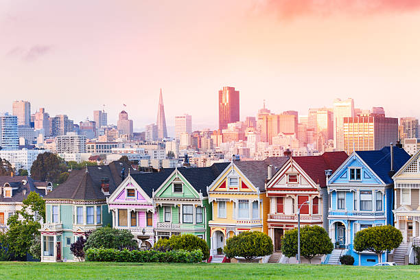 Evening skyline of San Francisco, painted ladies stock photo