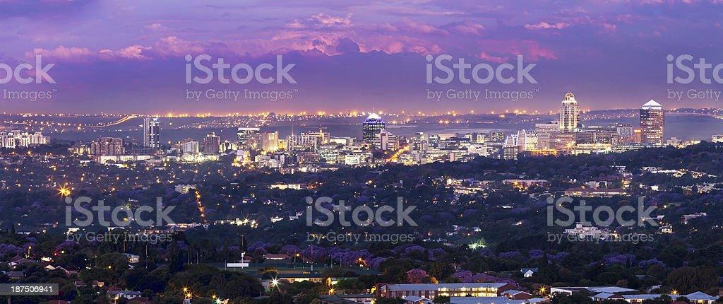 Evening skyline of Sandton City stock photo