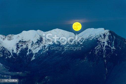 Evening snowy hills with rising full moon,Triglav National Park, Julian Alps, Primorska, Slovenia,Europe,Nikon D850