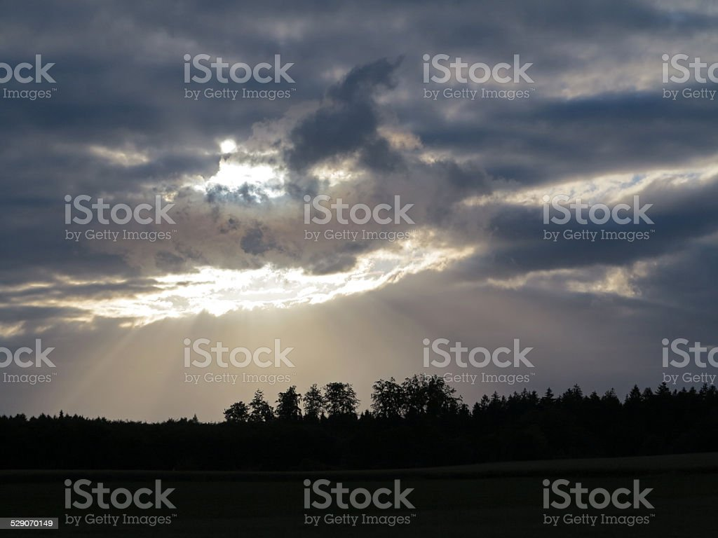 Evening storm clouds stock photo