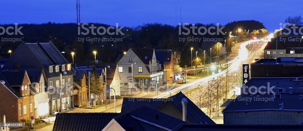 Evening street in Denmark stock photo