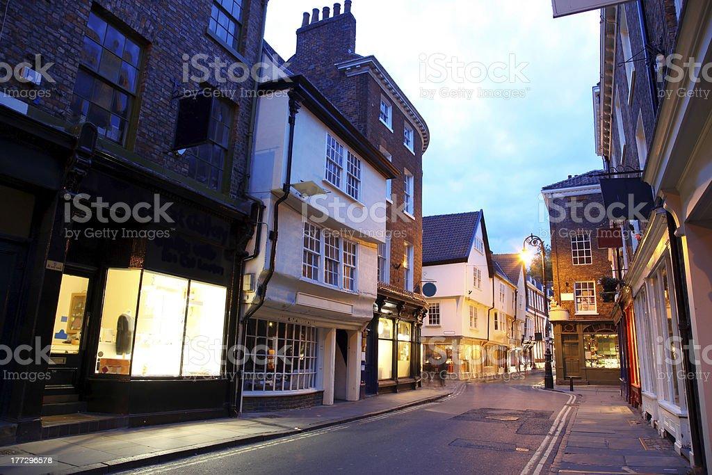Evening street in York, UK stock photo