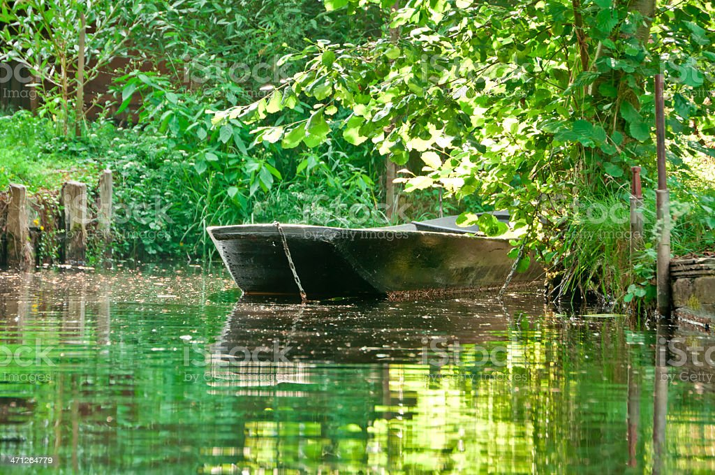 evening sun on boat in Spreewald/ Germany stock photo