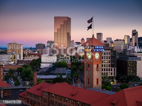 Aerial view of Union Station and the skyline of Portland, Oregon at sunset.