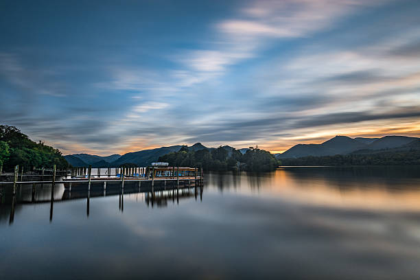Evening Sunset At Derwentwater Lake In Keswick, The Lake District. stock photo