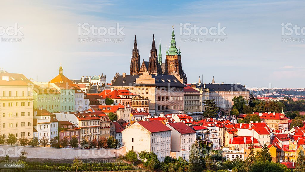 Evening sunset in the old town of Prague, Czech Republic stock photo