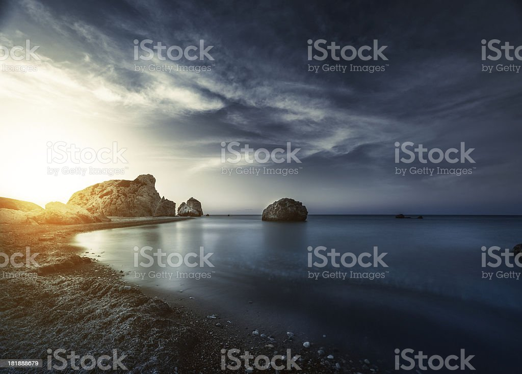 Evening sunset on sea stock photo